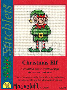 Mouseloft Christmas Elf Card Making Cross Stitch Kit