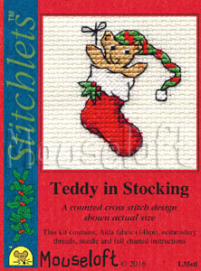 Mouseloft Teddy in Stocking Christmas Card Making Cross Stitch Kit