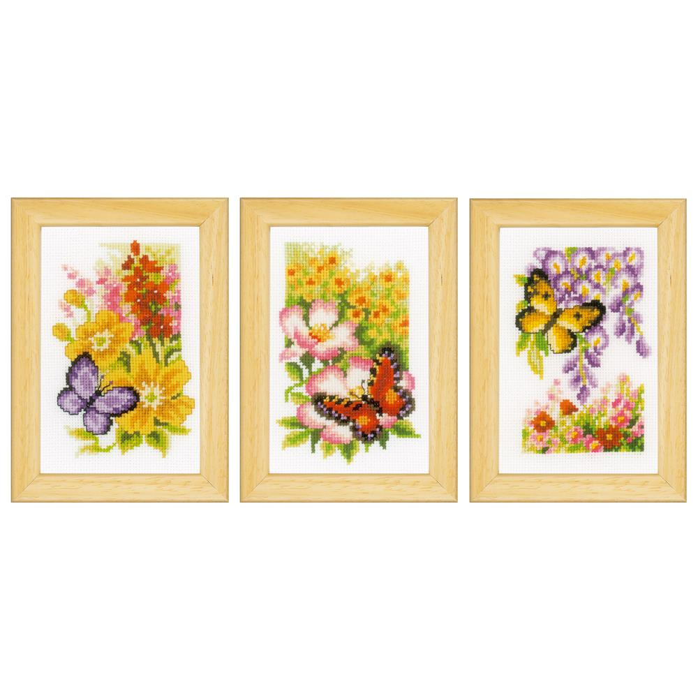Vervaco Butterflies - Set of 3 Cross Stitch Kit