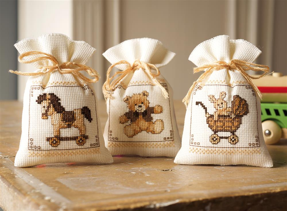 Toys Gift Bags - Set of 3 -  Cross Stitch Kit