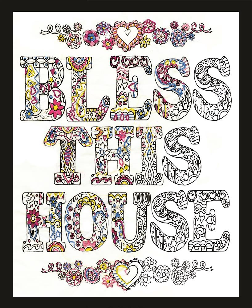 Design Works Crafts Zenbroidery - Bless This House Embroidery Fabric
