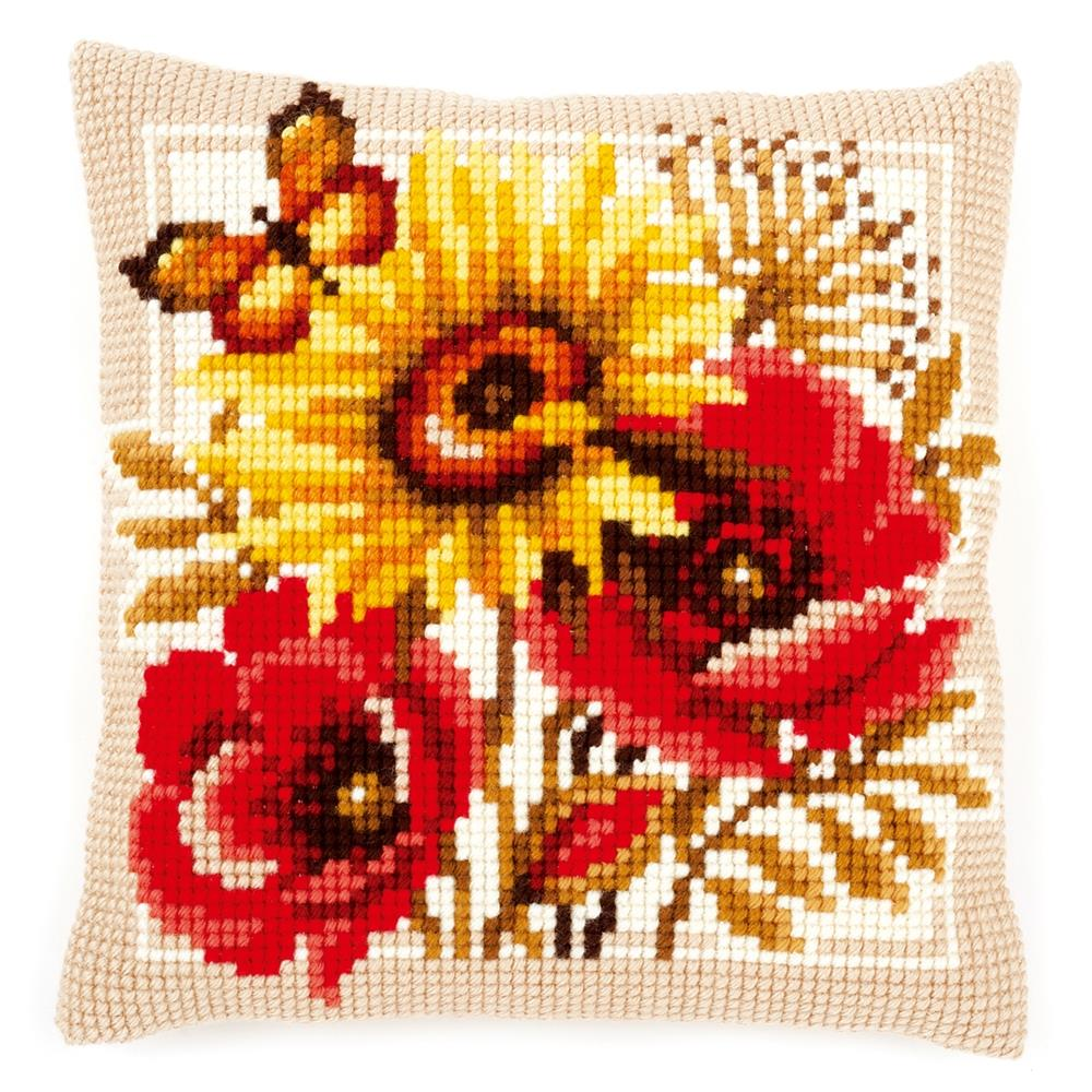 Vervaco Poppies and Sunflower Cushion Cross Stitch Kit