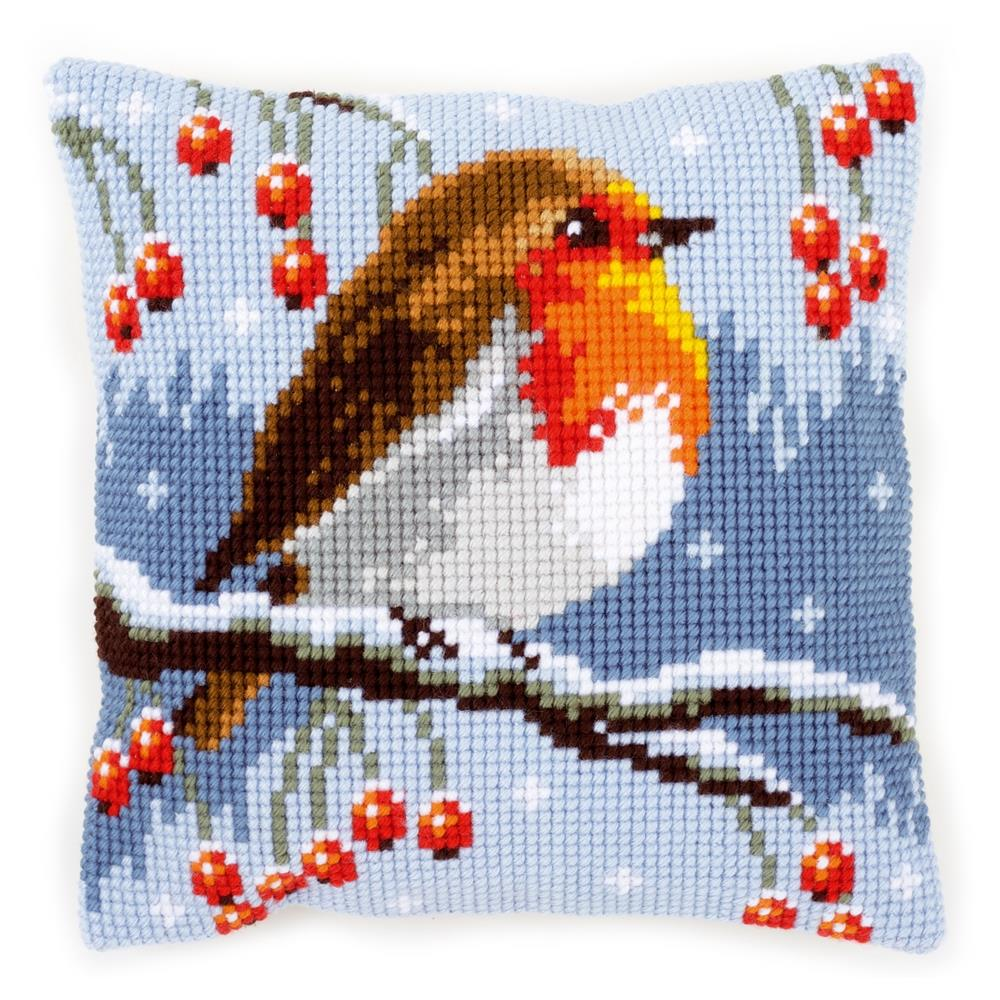 Vervaco Red Robin Cushion Christmas Cross Stitch Kit