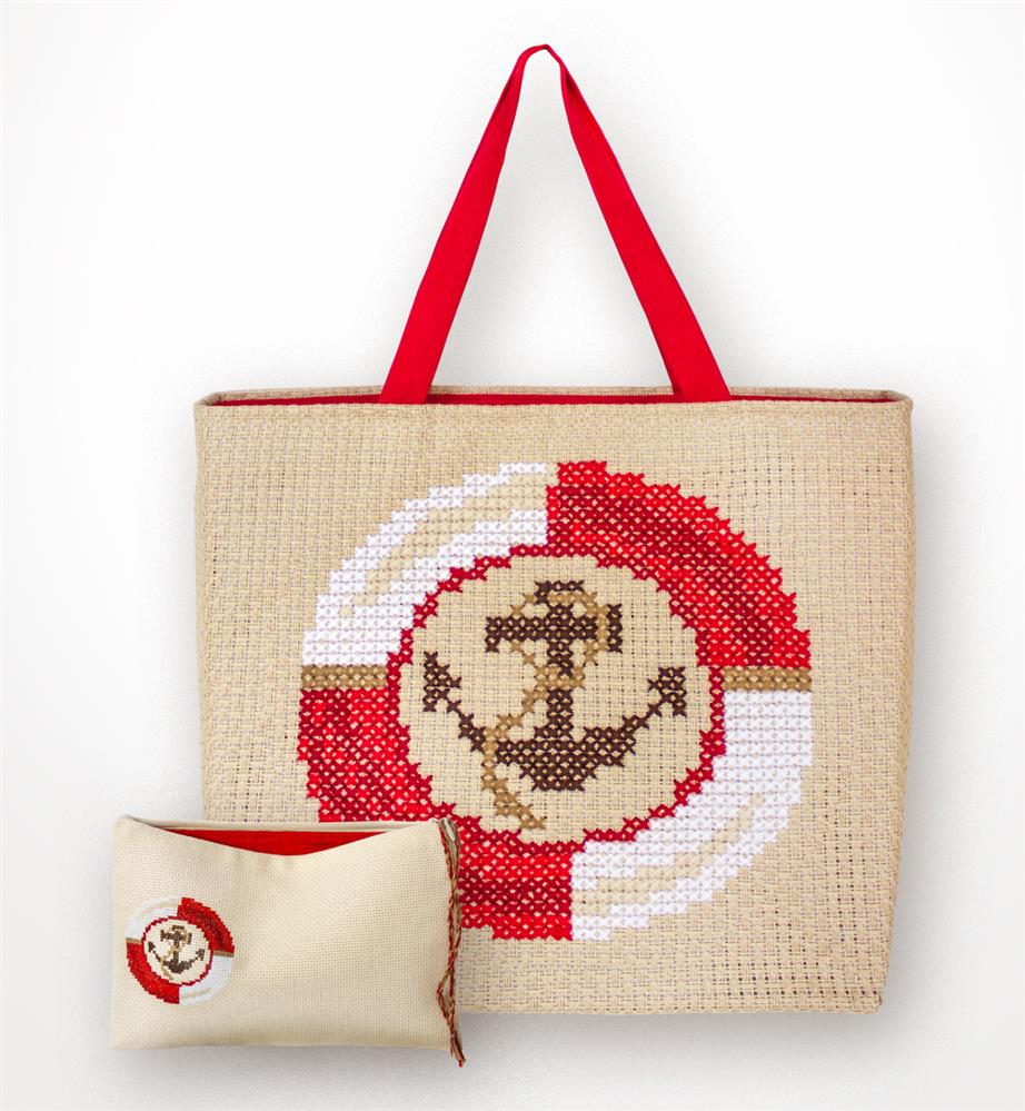 Red Anchor Bag and Purse Set -  Cross Stitch Kit