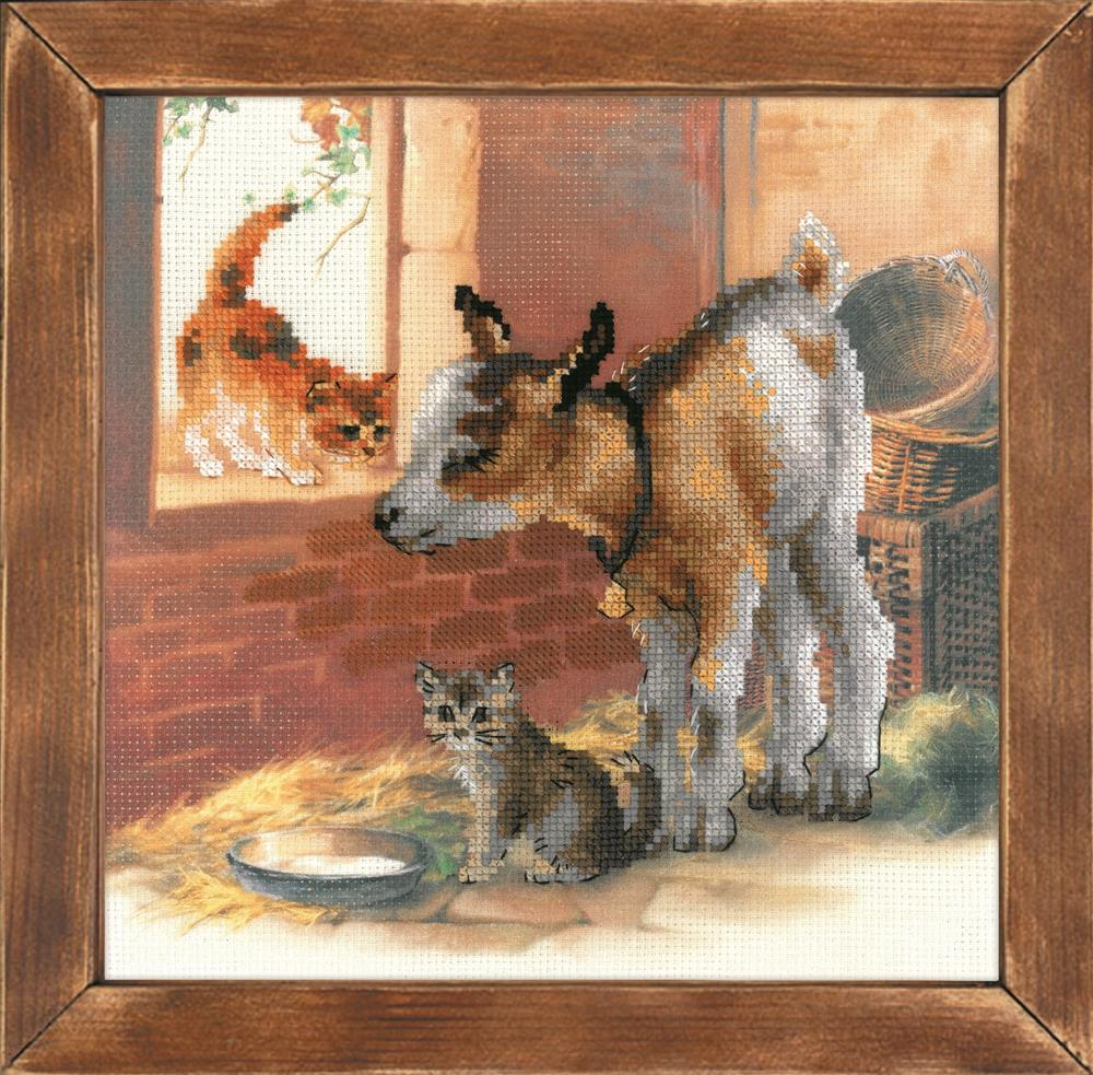 RIOLIS Goat and Kittens Cross Stitch