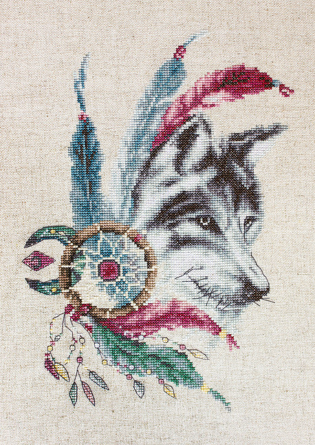 Luca-S Native Wolf Cross Stitch Kit