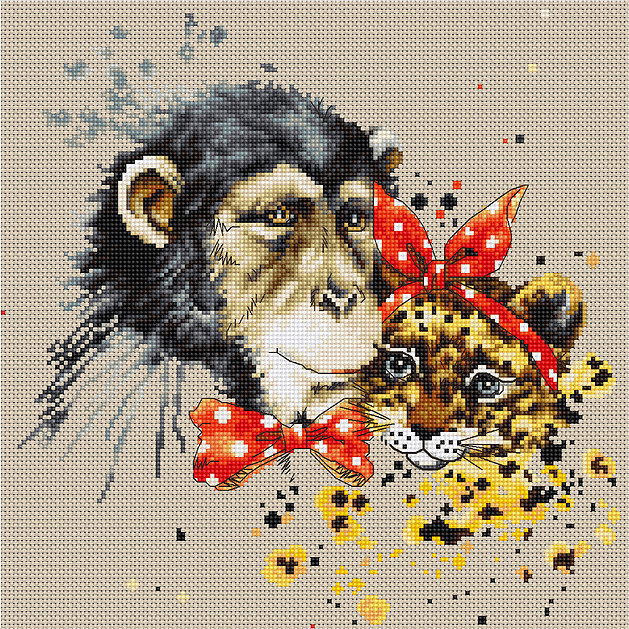 Chimp and Cheetah -  Cross Stitch Kit