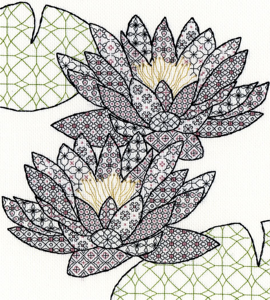 Blackwork Water Lily