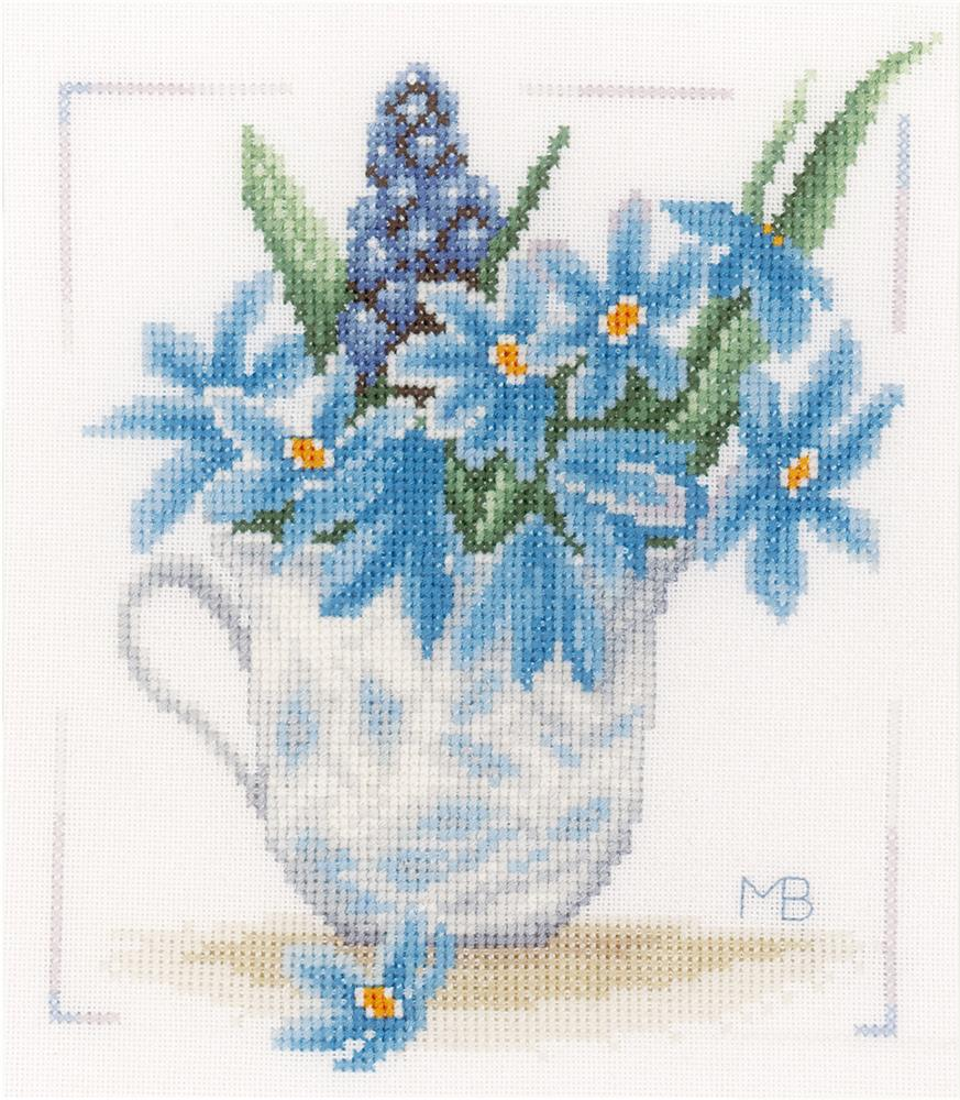 Blue Flowers -  Cross Stitch Kit