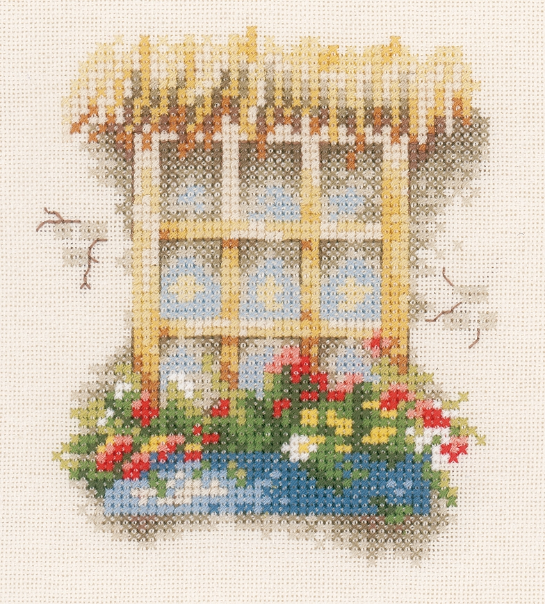 Lanarte Window with Flowers Cross Stitch Kit