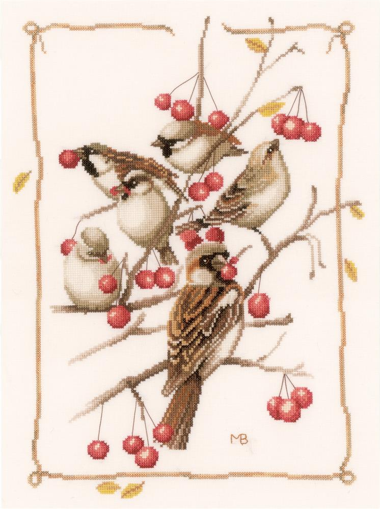Sparrows and Currant Bush -  Cross Stitch Kit