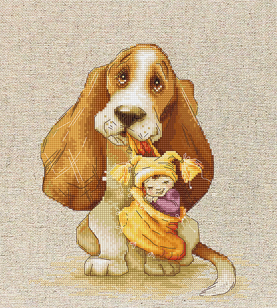 Basset -  Cross Stitch Kit