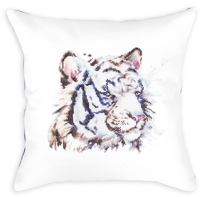 Luca-S White Tiger Cushion Cross Stitch Kit