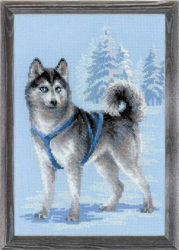 RIOLIS Husky Christmas Cross Stitch Kit
