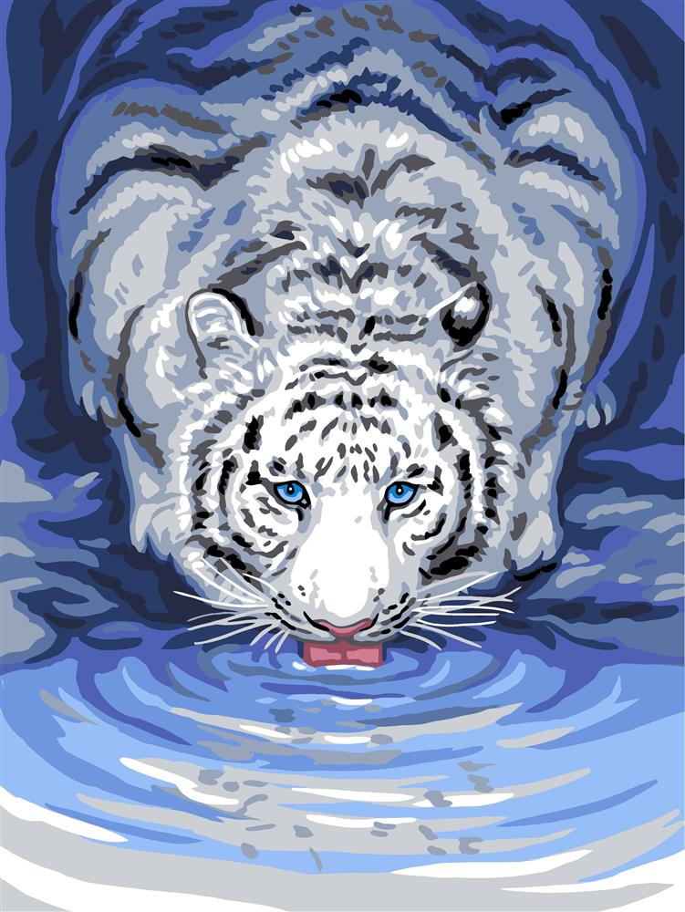 White Tiger Drinking -  Tapestry Canvas