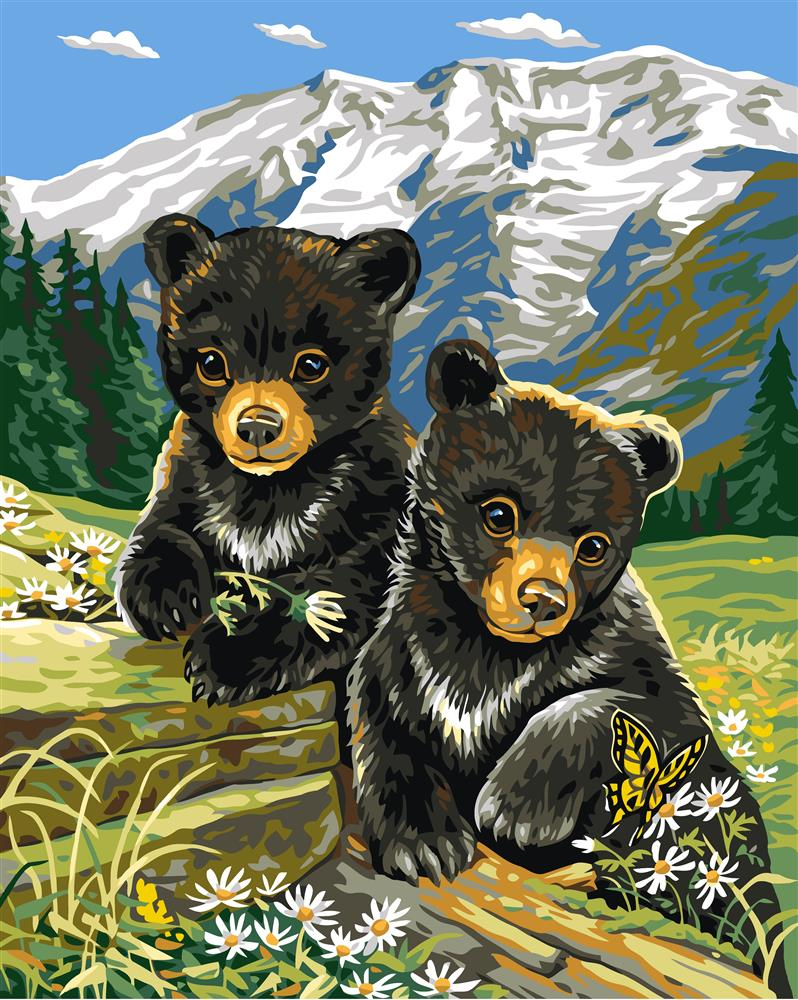 Grafitec Bear Cubs in Spring Tapestry Canvas
