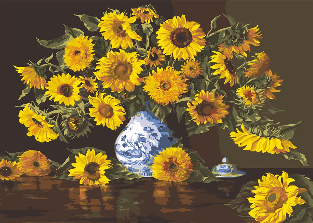 Sunflowers in a Blue Vase -  Tapestry Canvas