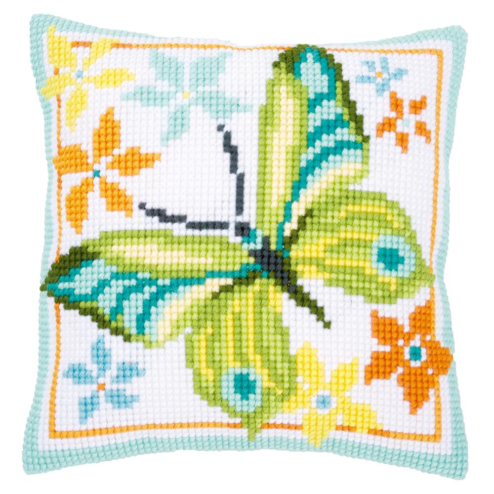 Vervaco Green Butterfly Cushion Cross Stitch Kit