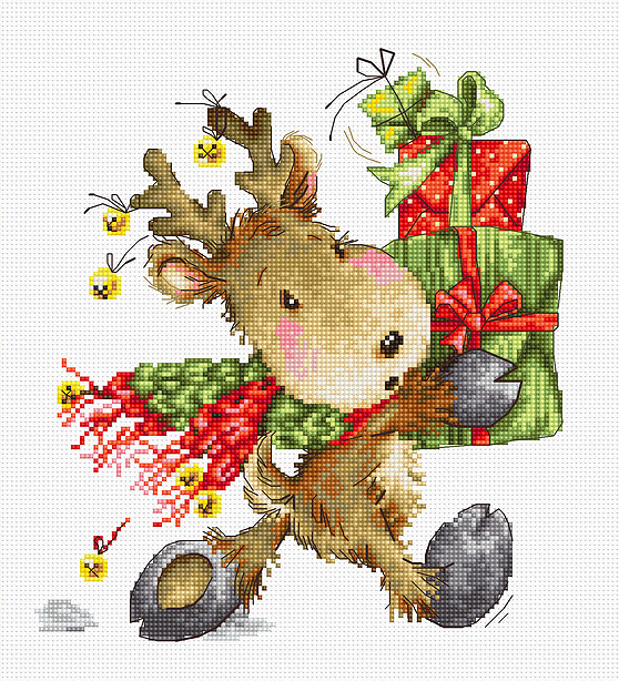 Luca-S Reindeer with Gifts Cross Stitch Kit