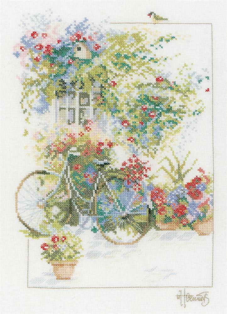 Flowers and Bicycle -  Cross Stitch Kit