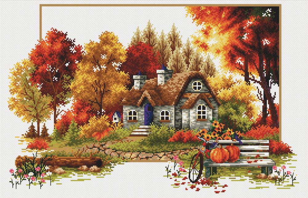 Autumn Cottage -  No Count Cross Stitch Kit