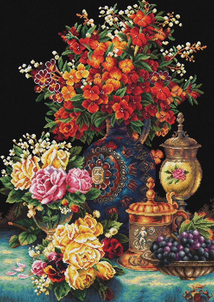Classic Flowers -  No Count Cross Stitch Kit