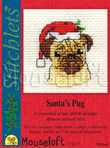 Mouseloft Santa's Pug Christmas Card Making Cross Stitch Kit