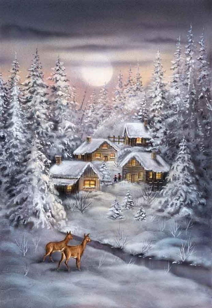 Winter Village -  Christmas Tapestry Canvas