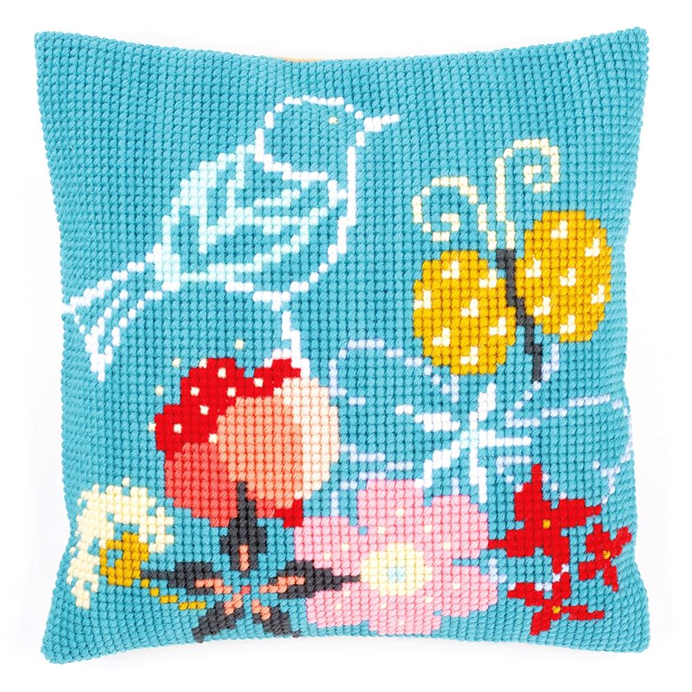 Vervaco Bird and Butterfly Cushion Cross Stitch Kit