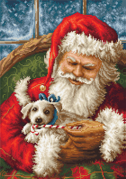 Santa Claus and Puppy -  Christmas Cross Stitch Kit