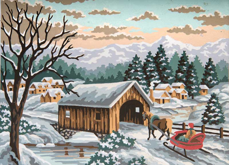Winter Sleigh -  Christmas Tapestry Canvas