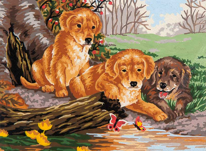 Puppy Fun -  Tapestry Canvas