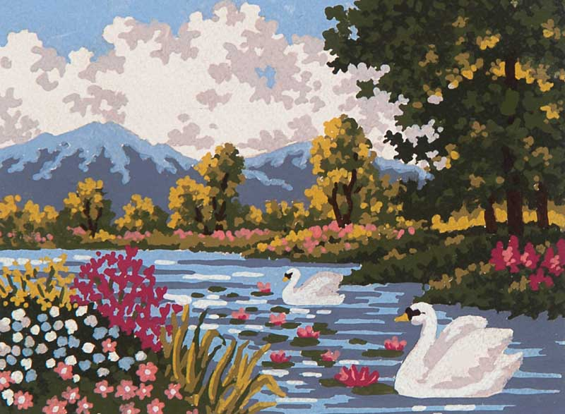 River Landscape -  Tapestry Canvas