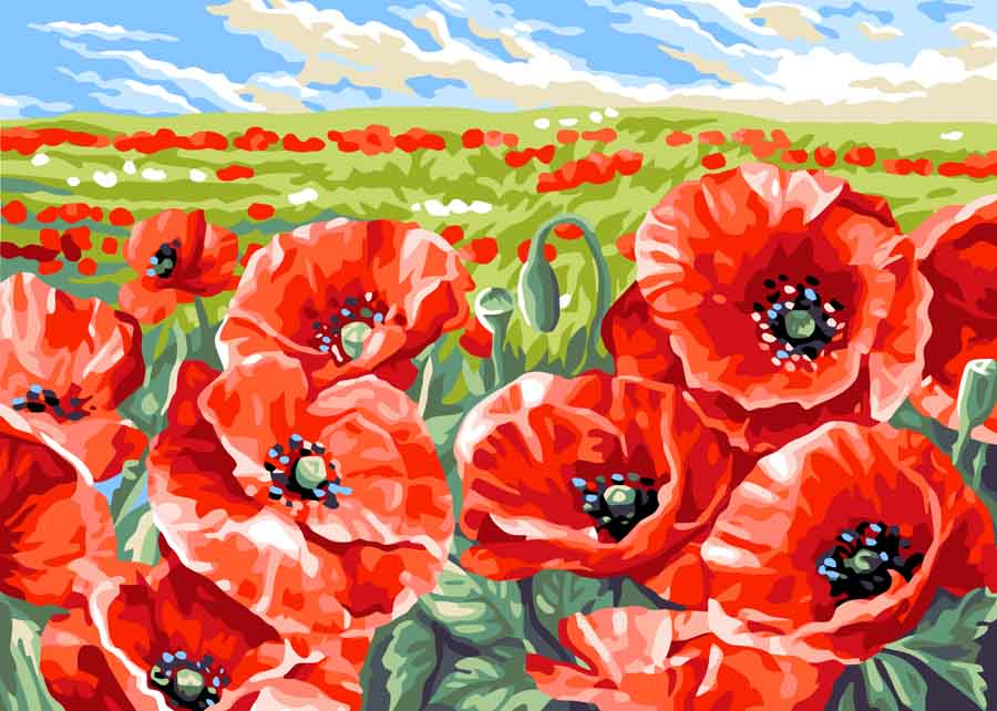 Red Poppy Field -  Tapestry Canvas