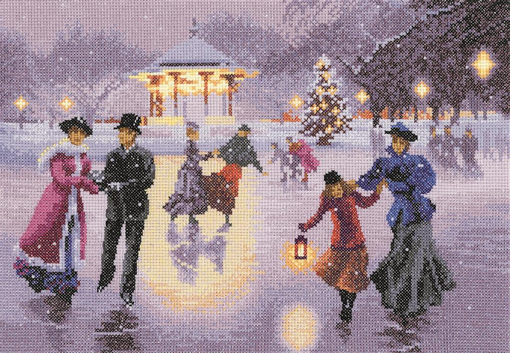 Heritage Christmas Skaters - Evenweave Cross Stitch Kit