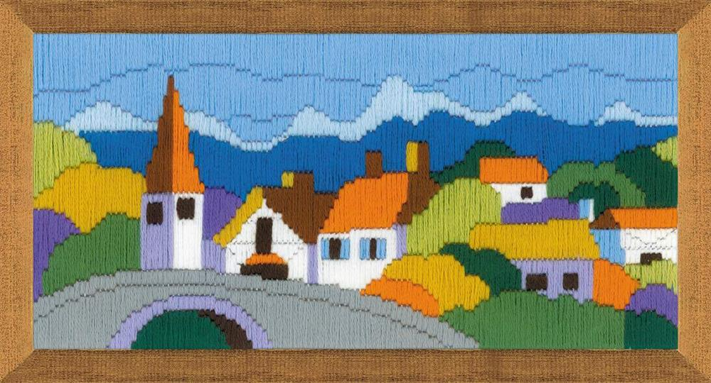 RIOLIS Town in the Mountains Long Stitch Kit