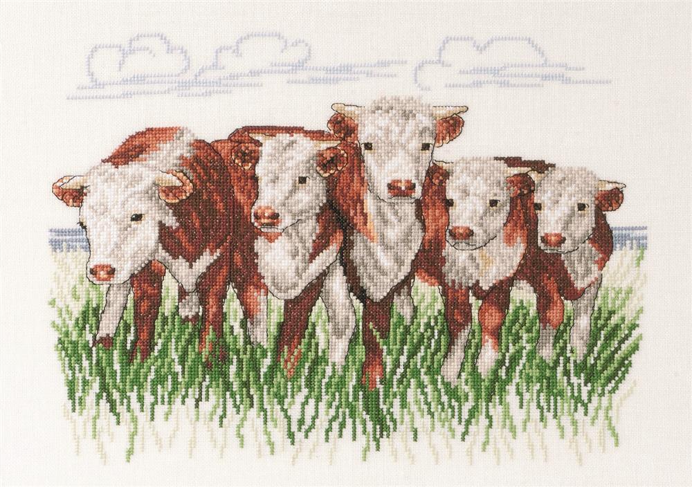 Permin Hereford Cows - Linen Cross Stitch Kit