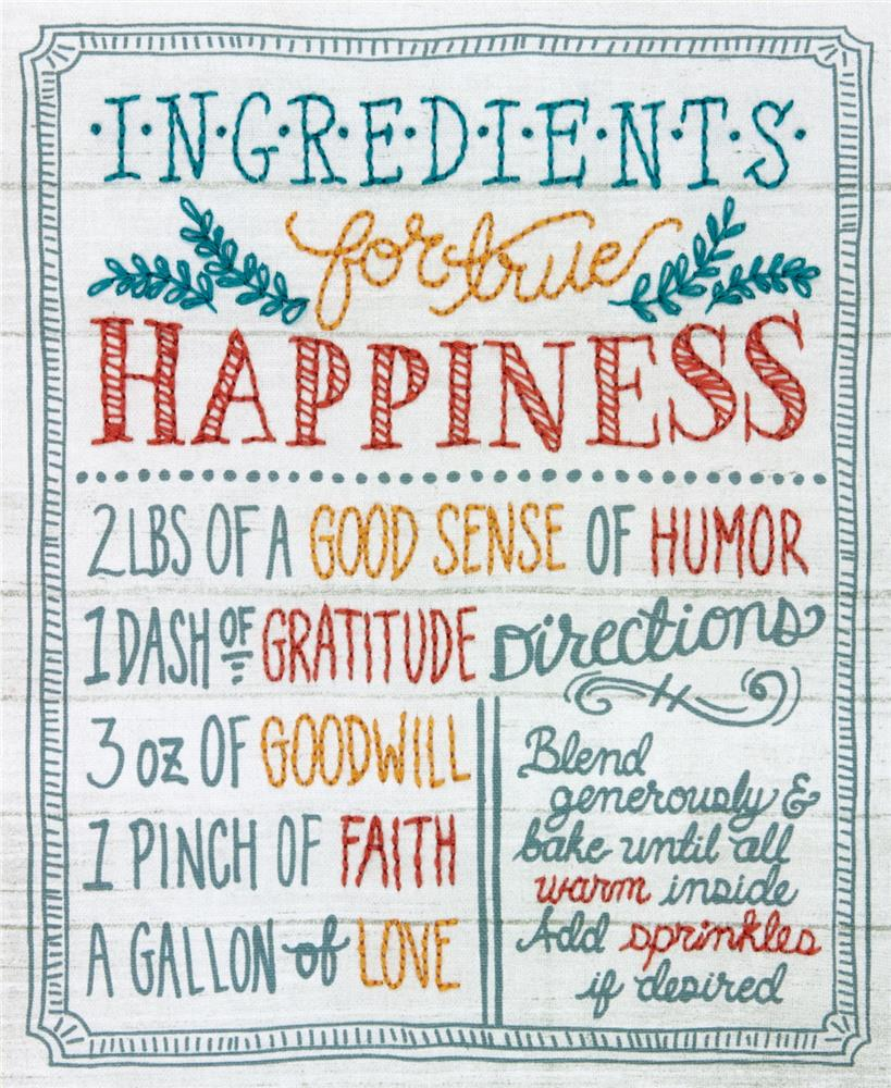 Dimensions Ingredients for Happiness Embroidery Kit