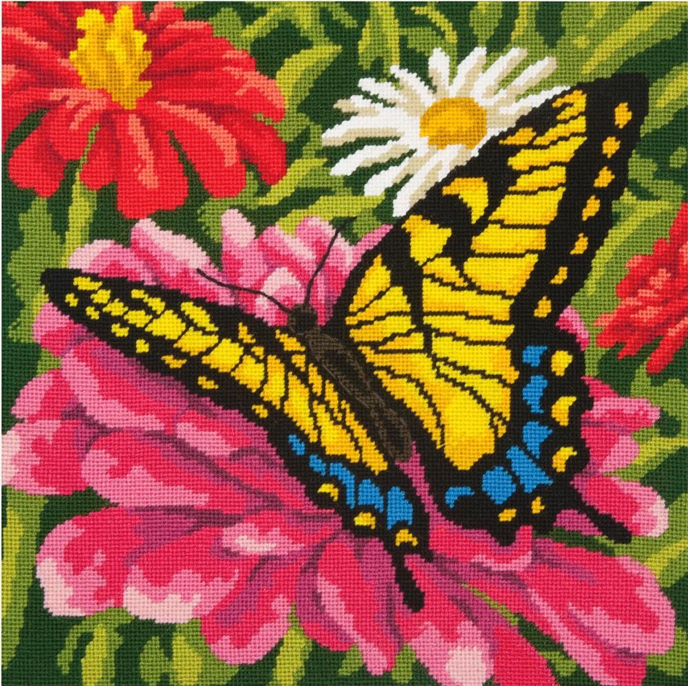 Butterfly and Zinnias -  Tapestry Kit