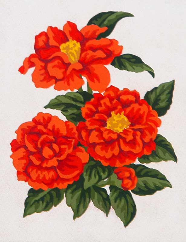 Grafitec Red Zinnias Tapestry Canvas