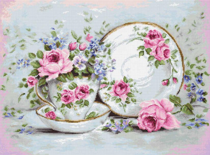 Luca-S Trio with Blooms Cross Stitch Kit