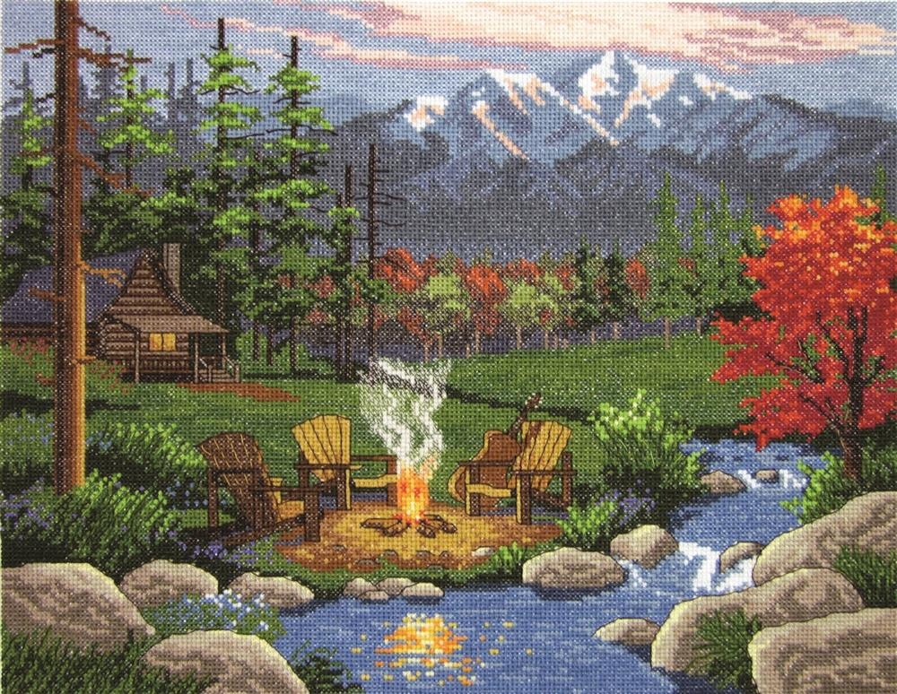 Janlynn Camp Fire Cross Stitch Kit