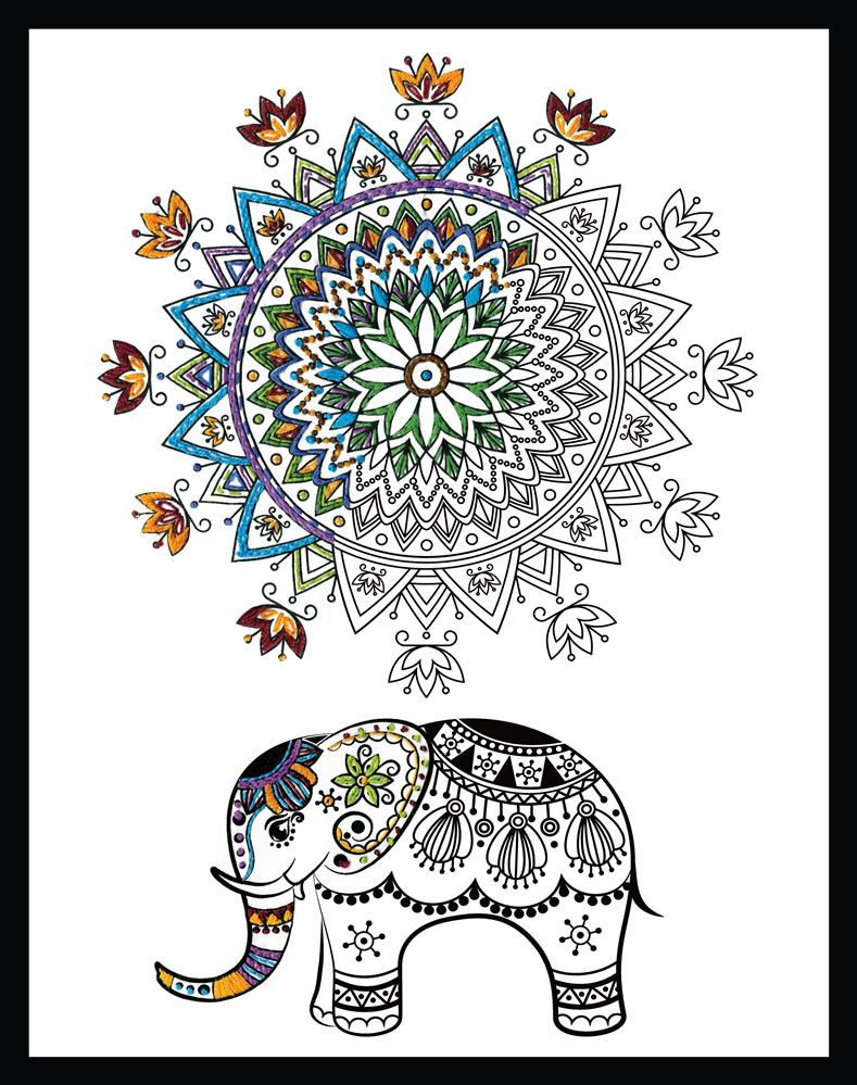 Design Works Crafts Zenbroidery - Elephant Mandala Embroidery Fabric