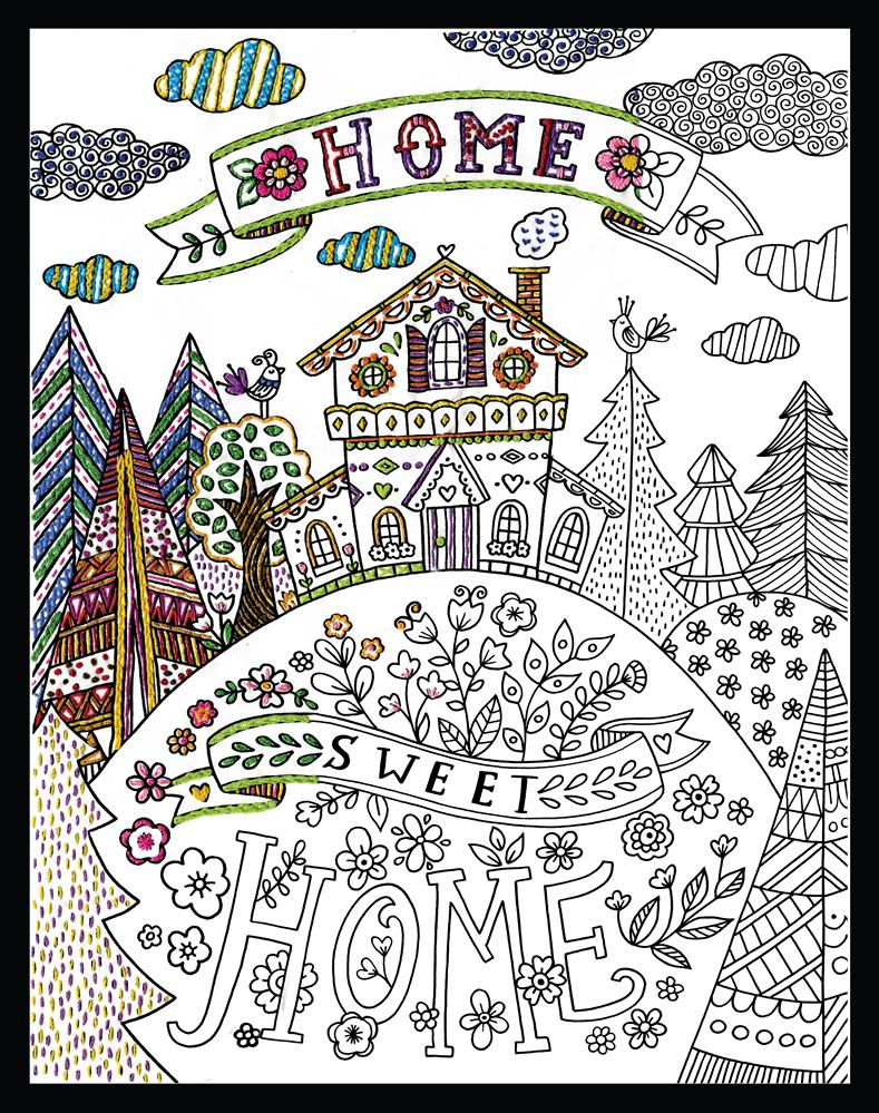 Design Works Crafts Zenbroidery - Our Home Sweet Home Embroidery Fabric