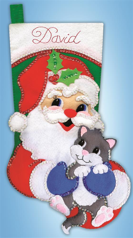 Design Works Crafts Santa with Kitten Stocking Craft Kit