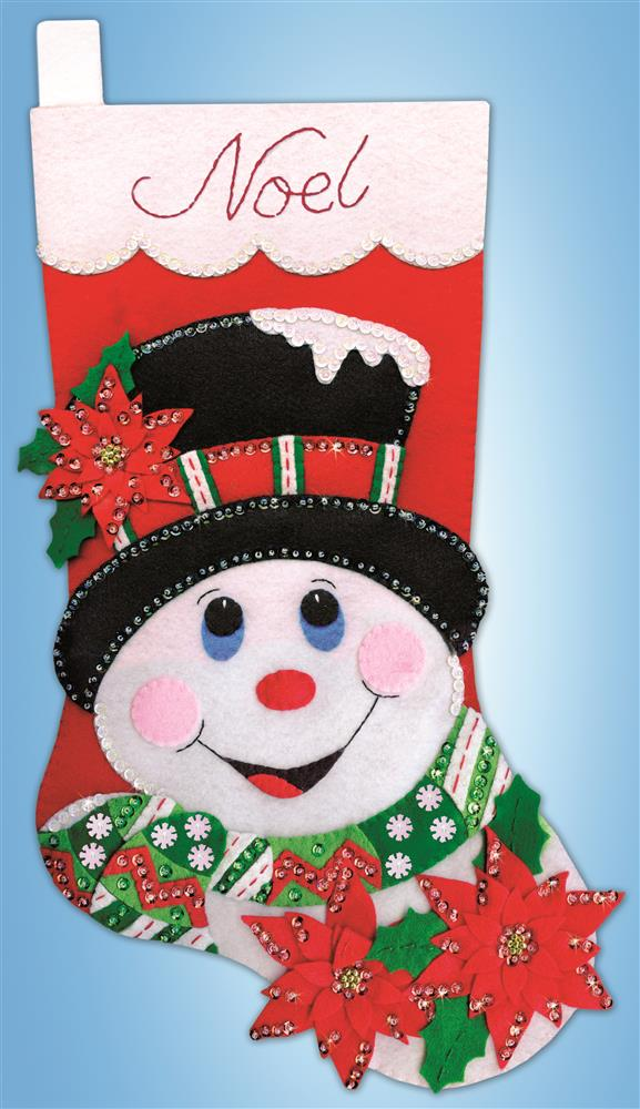 Design Works Crafts Poinsettia Snowman Stocking Christmas Craft Kit