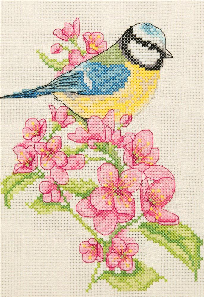 Anchor Bluetit and Blossom Cross Stitch Kit