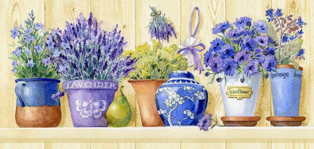 Lavender Pots -  Tapestry Canvas