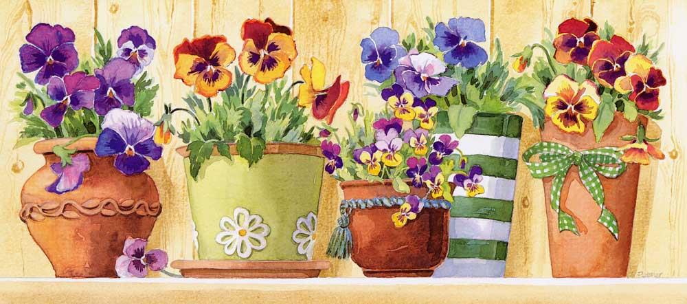 Grafitec Pansy Pots Tapestry Canvas