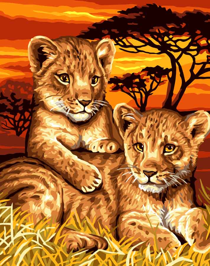 Grafitec Lion Cubs  Tapestry Canvas
